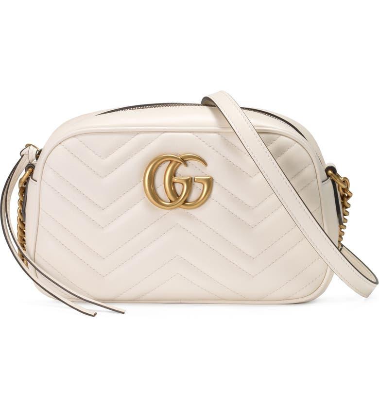 GUCCI Small GG Marmont 2.0 Matelassé Leather Camera Bag, Main, color, MYSTIC WHITE/ MYSTIC WHITE