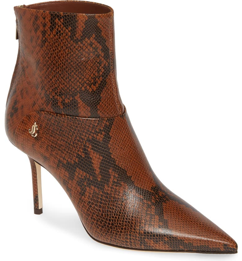 JIMMY CHOO Beyla Snake Embossed Pointed Toe Bootie, Main, color, CUOIO SNAKE PRINT