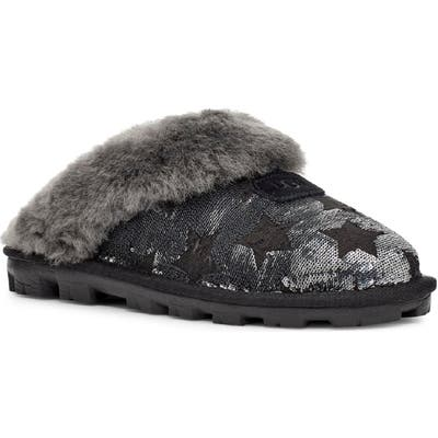 UGG Sequin Stars Genuine Shearling Slipper, Black
