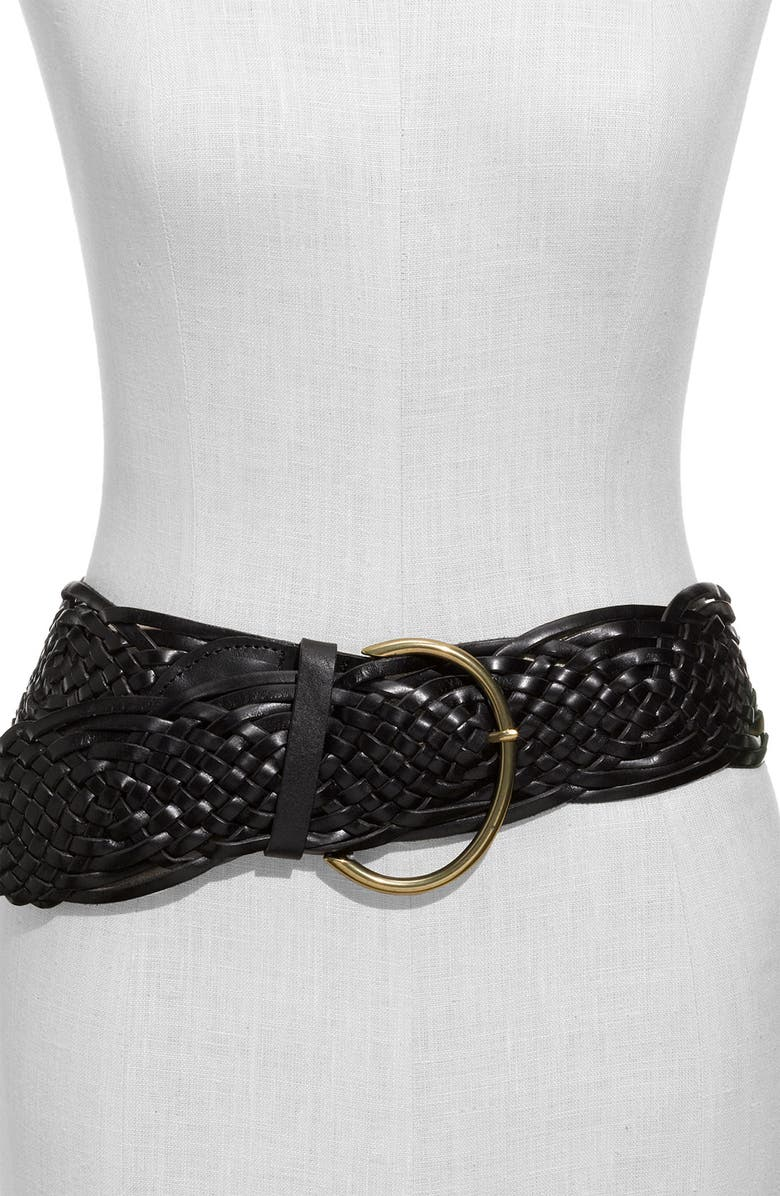 TARNISH Braided Leather Belt, Main, color, 001