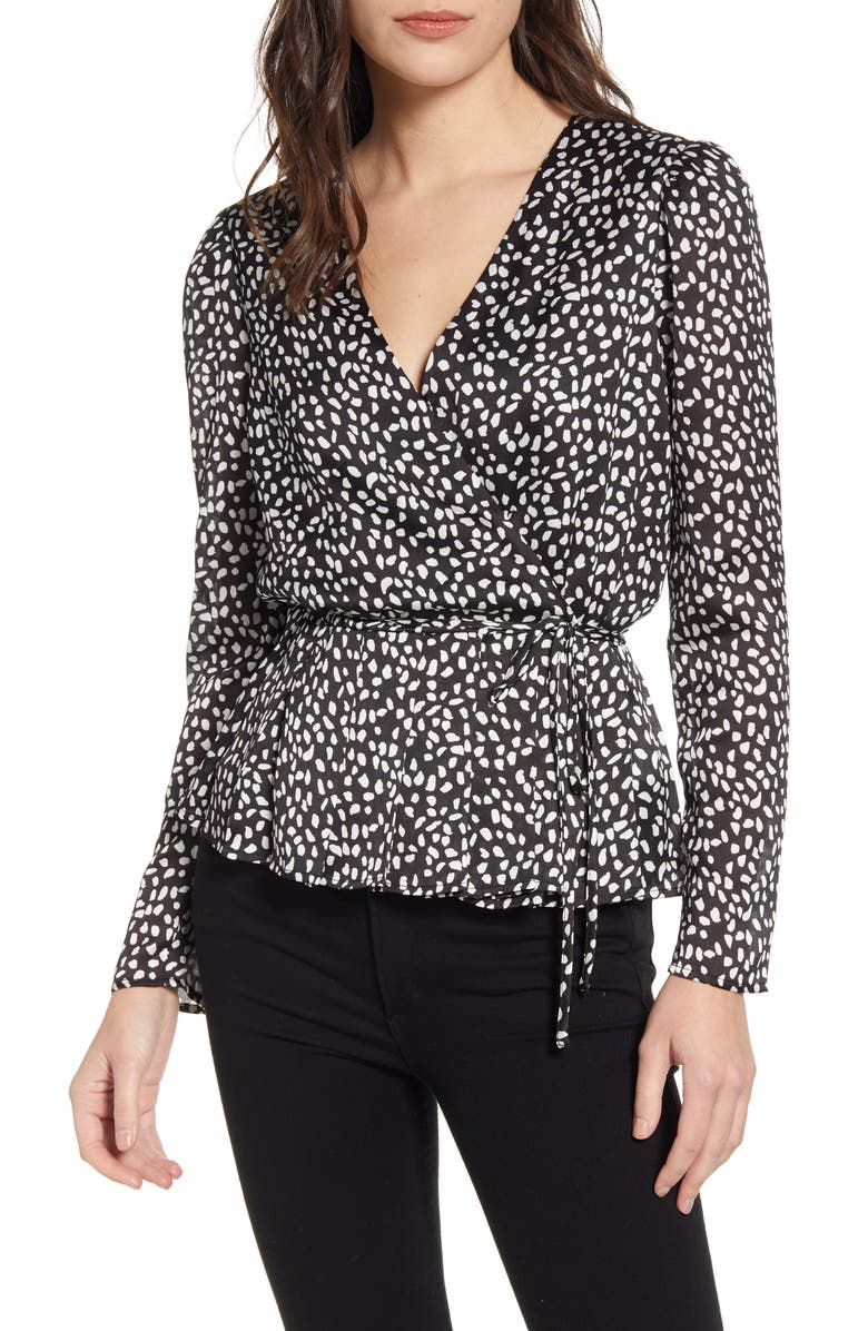 CHELSEA28 Long Sleeve Pleated Wrap Top, Main, color, BLACK- WHITE LEOPARD