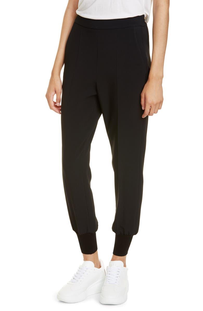 STELLA MCCARTNEY Julia Stretch Cady Jogger Pants, Main, color, BLACK