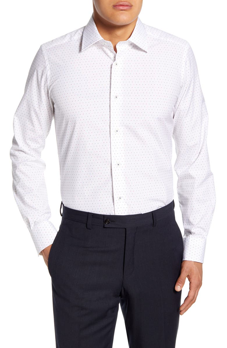 DAVID DONAHUE Trim Fit Dress Shirt, Main, color, WHITE/MULTI