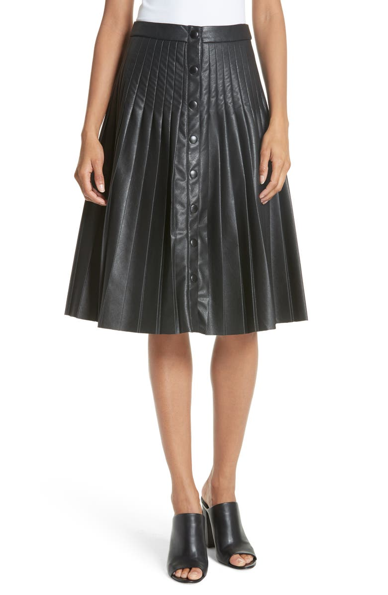 REBECCA TAYLOR Pleated Faux Leather Skirt, Main, color, 001