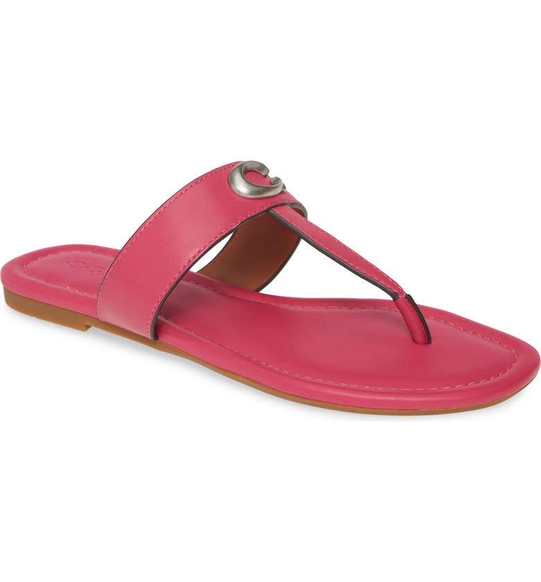 COACH Jessie Flip Flop, Main, color, BRIGHT PINK LEATHER