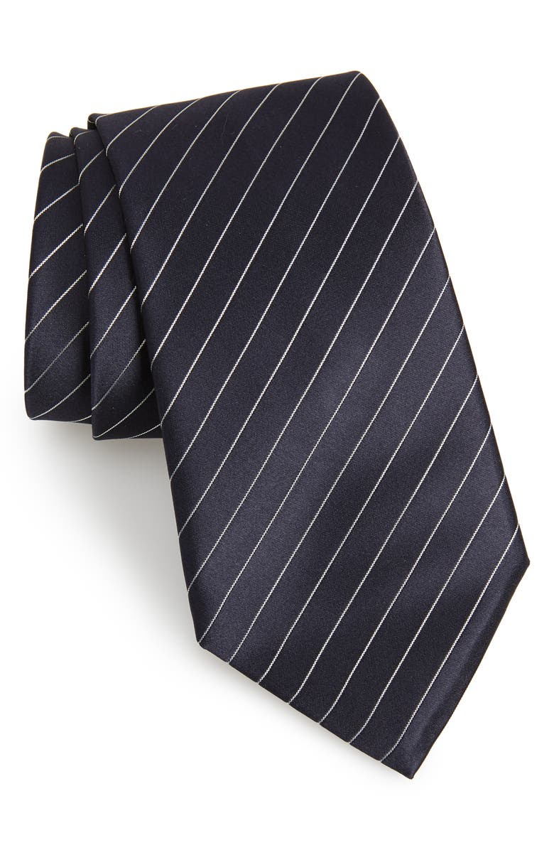 EMPORIO ARMANI Stripe Silk Tie, Main, color, 424