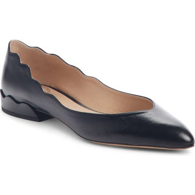 Chloe Laurena Scalloped Flat, Black