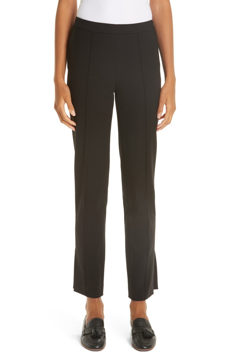 PARTOW Side Slit Skinny Pants, Main, color, BLACK