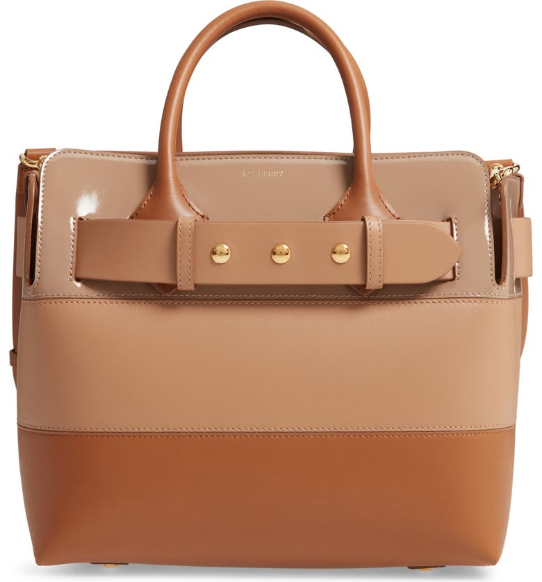 BURBERRY Small Belt Colorblock Leather Satchel, Main, color, SOFT FAWN/ BISCUIT