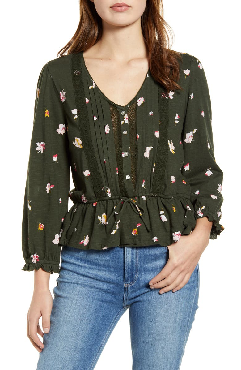 LUCKY BRAND Floral Lace Detail Cotton Top, Main, color, OLIVE MULTI