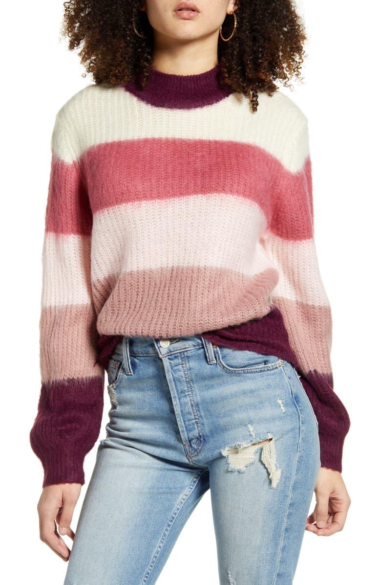 ALL IN FAVOR Multi Stripe Sweater, Main, color, MAHOGANY ROSE