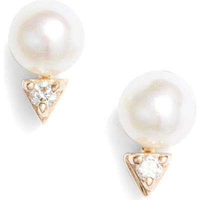 Dana Rebecca Designs Pearl & Diamond Stud Earrings