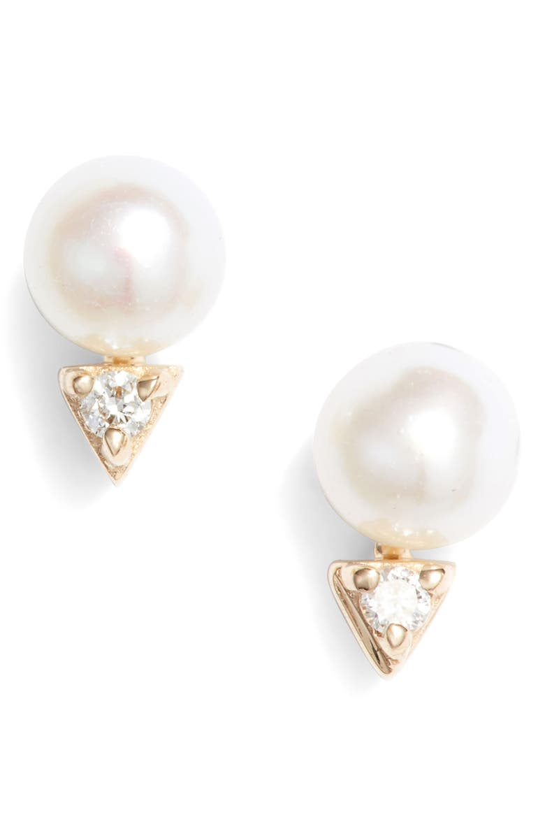 DANA REBECCA DESIGNS Pearl & Diamond Stud Earrings, Main, color, YELLOW GOLD