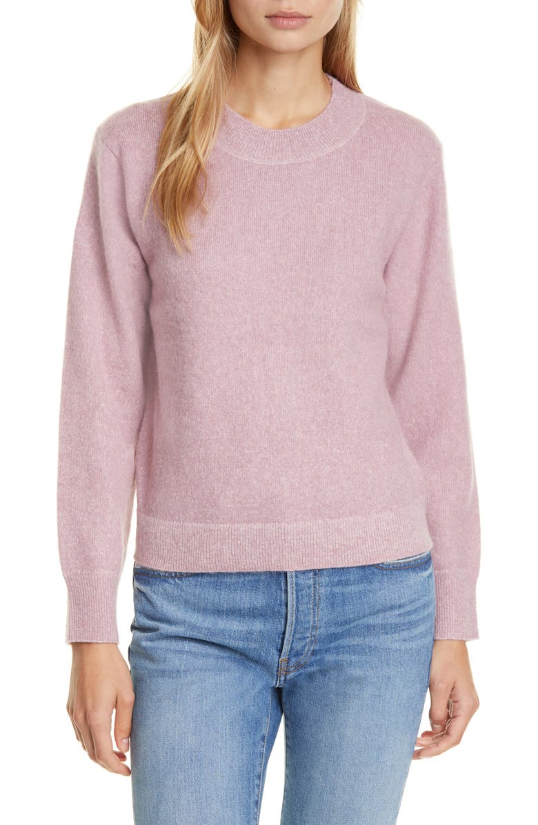 VINCE Brushed Crewneck Sweater, Main, color, AMARENA/ ROSA SECO