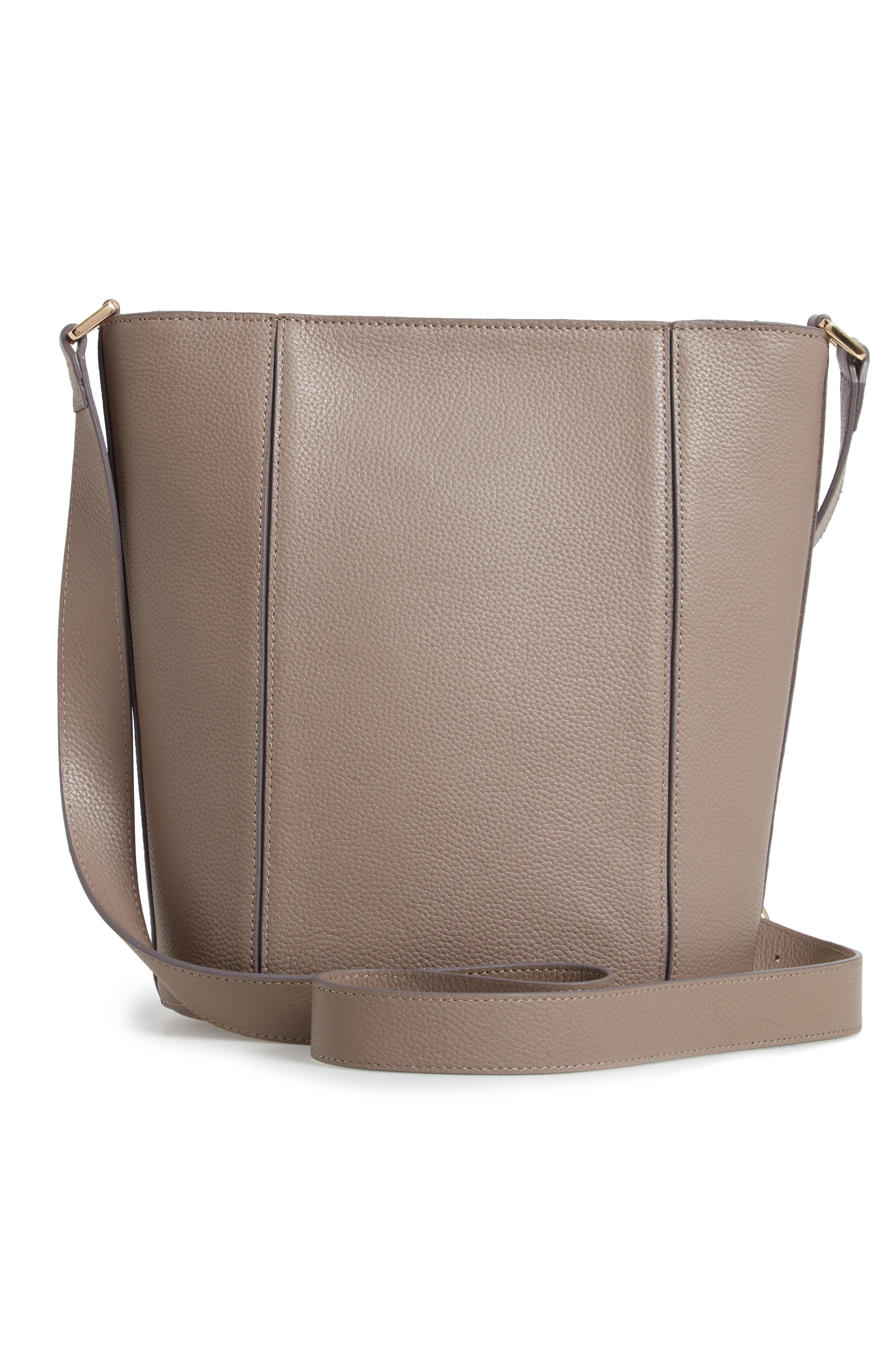 ,                             Loraine Leather Bucket Bag,                             Alternate thumbnail 4, color,                             GREY TAUPE