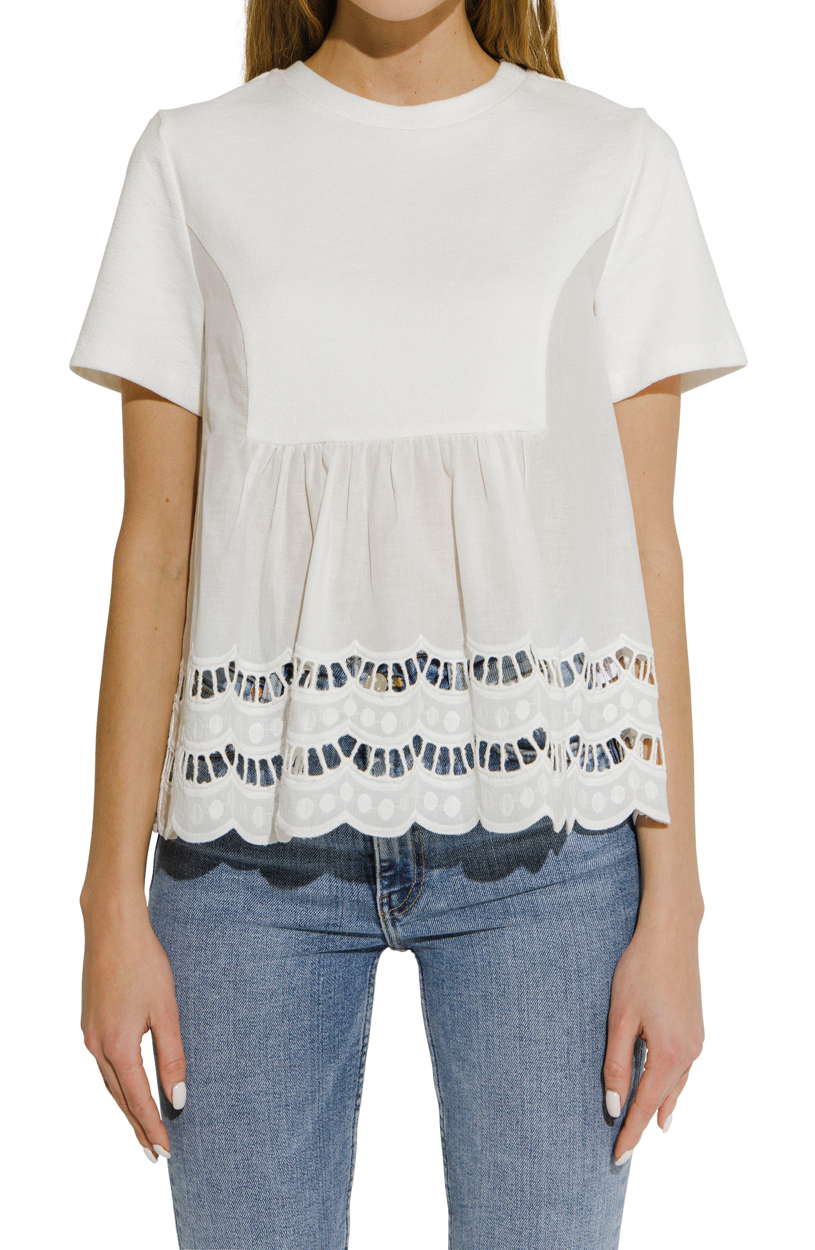 Mixed Media Eyelet T-Shirt
