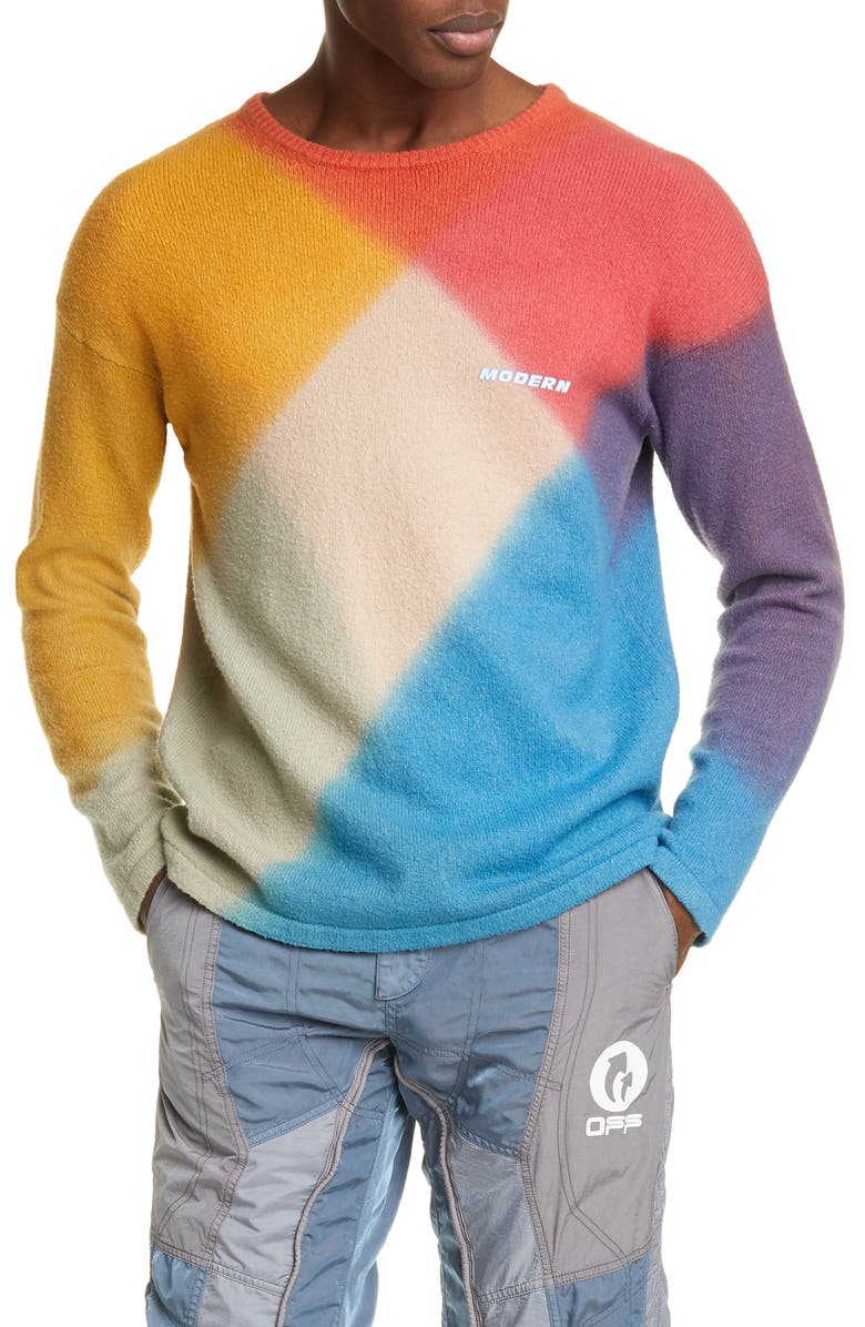 OFF-WHITE Modern Arrow Cotton Blend Sweater, Main, color, RED MULTI