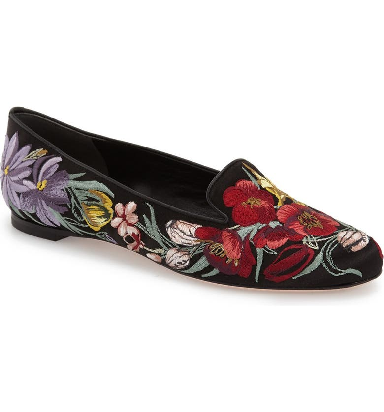 ALEXANDER MCQUEEN Embroidered Flower Loafer, Main, color, 001