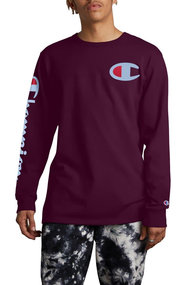 CHAMPION Heritage Big-C Logo Long Sleeve T-Shirt, Main, color, VENETIAN PURPLE