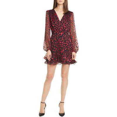 Saloni Alya Heart Jacquard Long Sleeve Silk Blend Minidress, Red