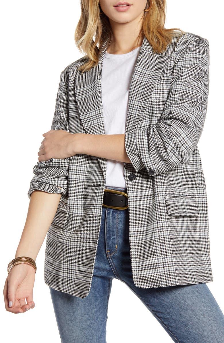 TREASURE & BOND Oversize Patterned Blazer, Main, color, IVORY- GREY MARA PLAID