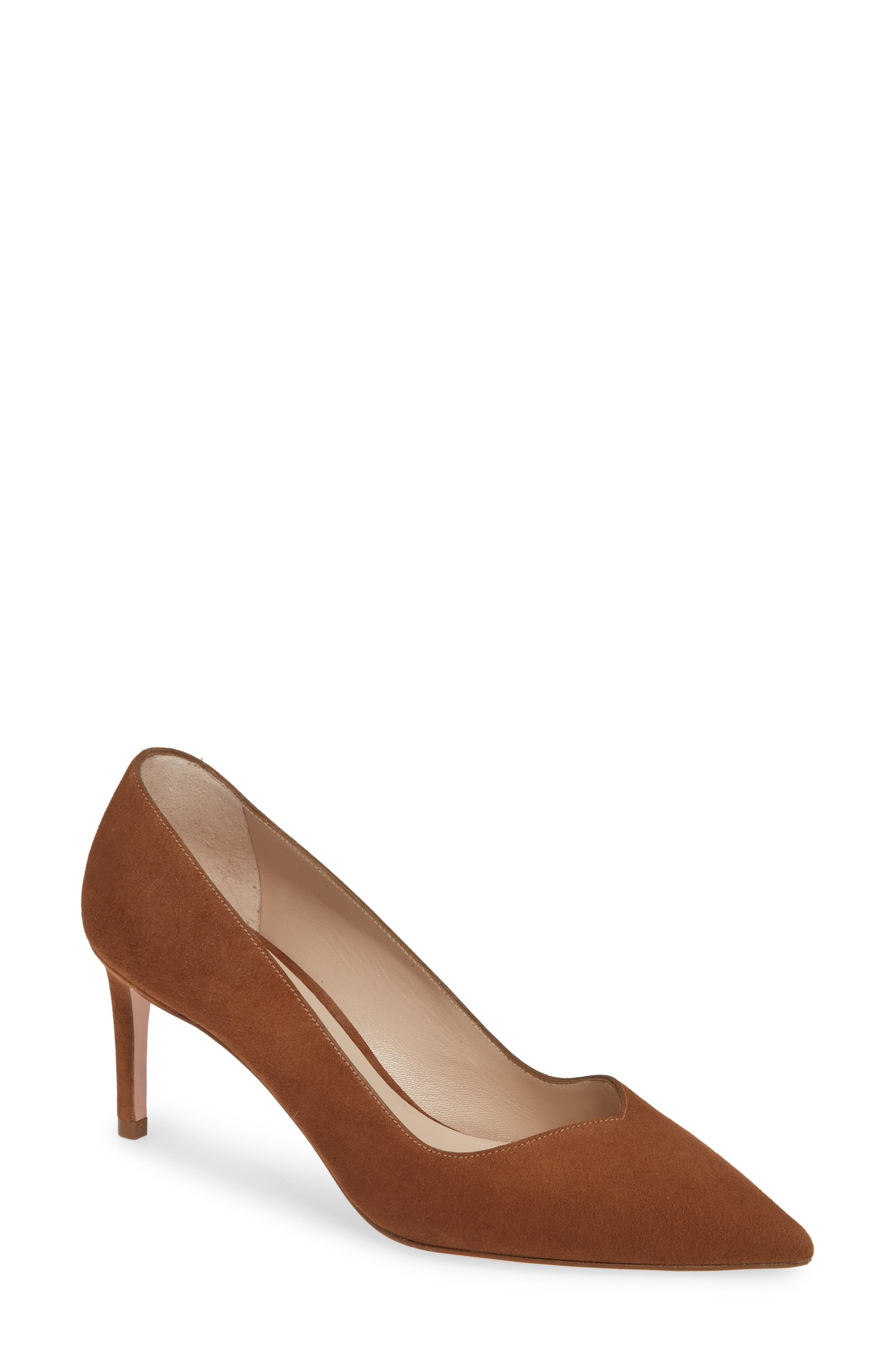 Stuart Weitzman Anny Pointy Toe Pump, Brown