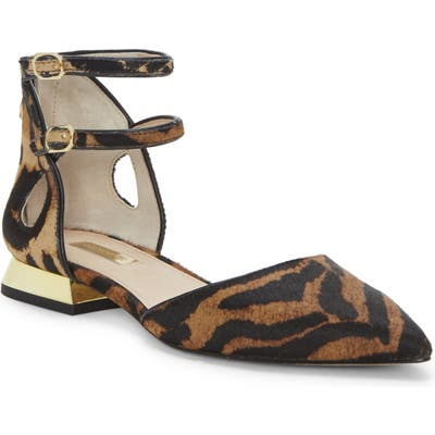 Louise Et Cie Carlen Ankle Strap Genuine Calf Hair Flat- Brown