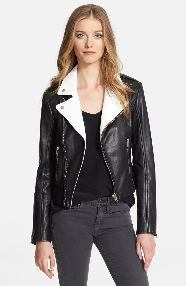 RACHEL ZOE 'Rylan' Nappa Leather Moto Jacket, Main, color, 001