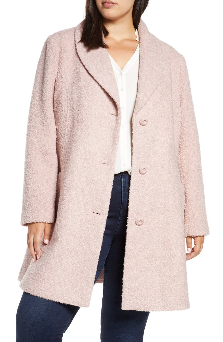GALLERY Bouclé Coat, Main, color, ROSE PINK