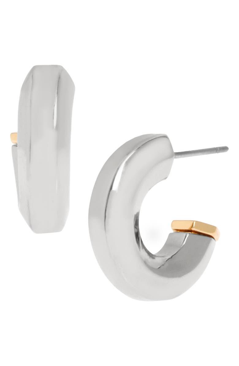 ALLSAINTS Hexagon Bypass Huggie Hoop Earrings, Main, color, SILVER/ GOLD