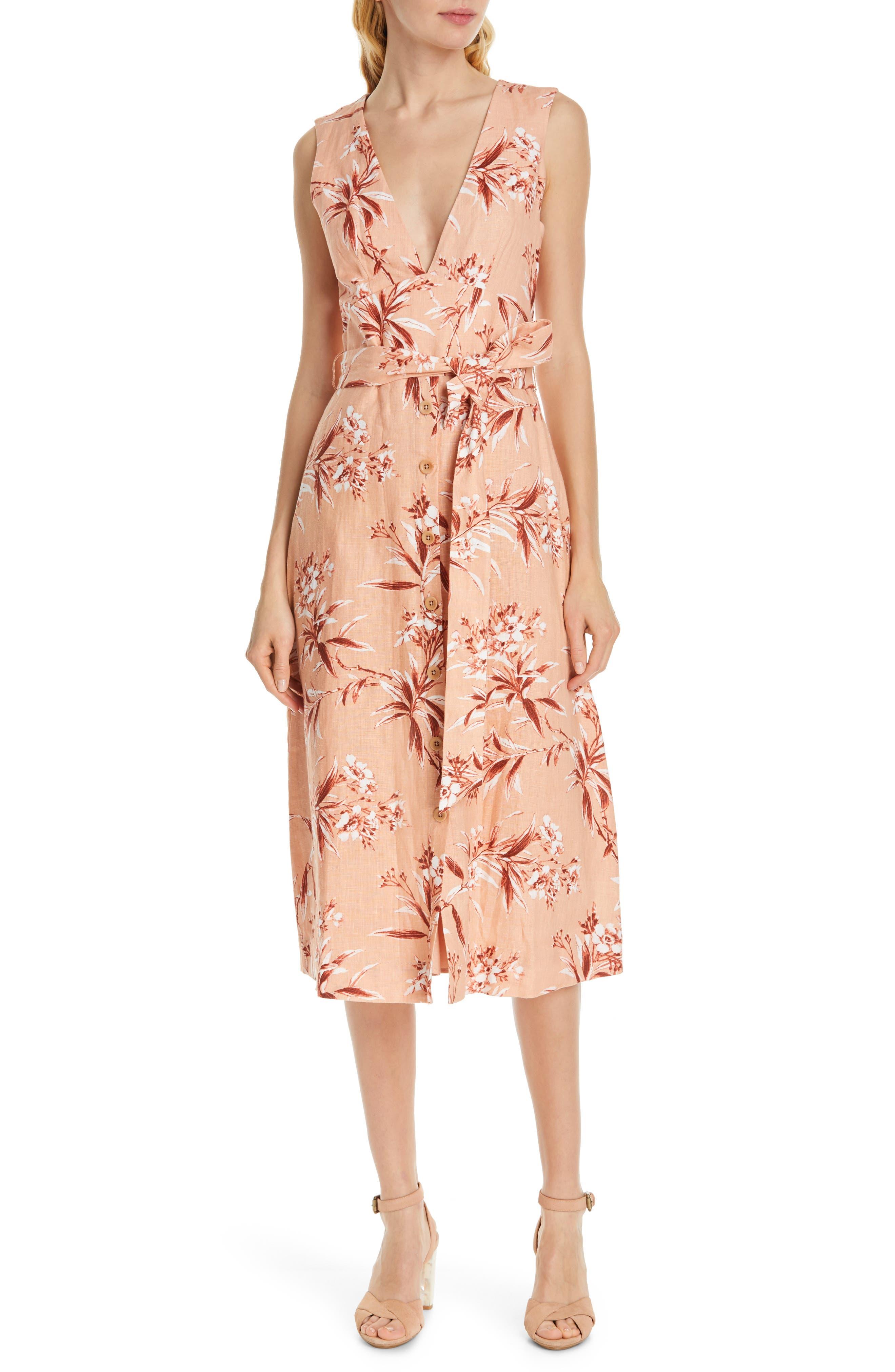 Joie Ethelda Floral Midi Linen Dress, Pink