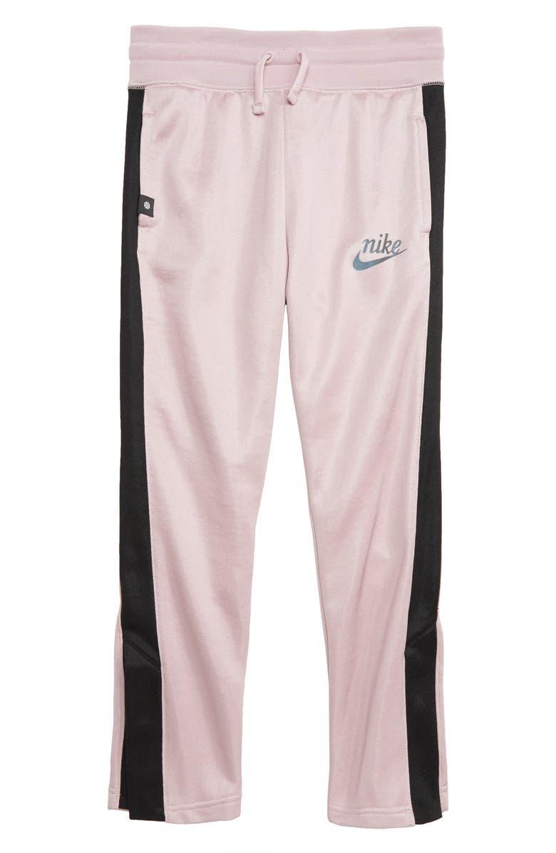 NIKE Icon Fleece Track Pants, Main, color, PLUM CHALK/ BLACK/ BLACK