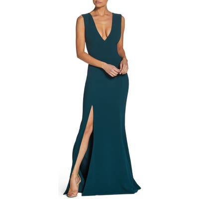Dress The Population Sandra Plunge Crepe Trumpet Gown, Green