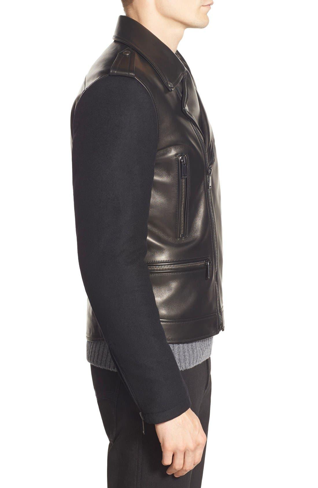 ,                             Melton Sleeve Leather Jacket,                             Alternate thumbnail 5, color,                             001
