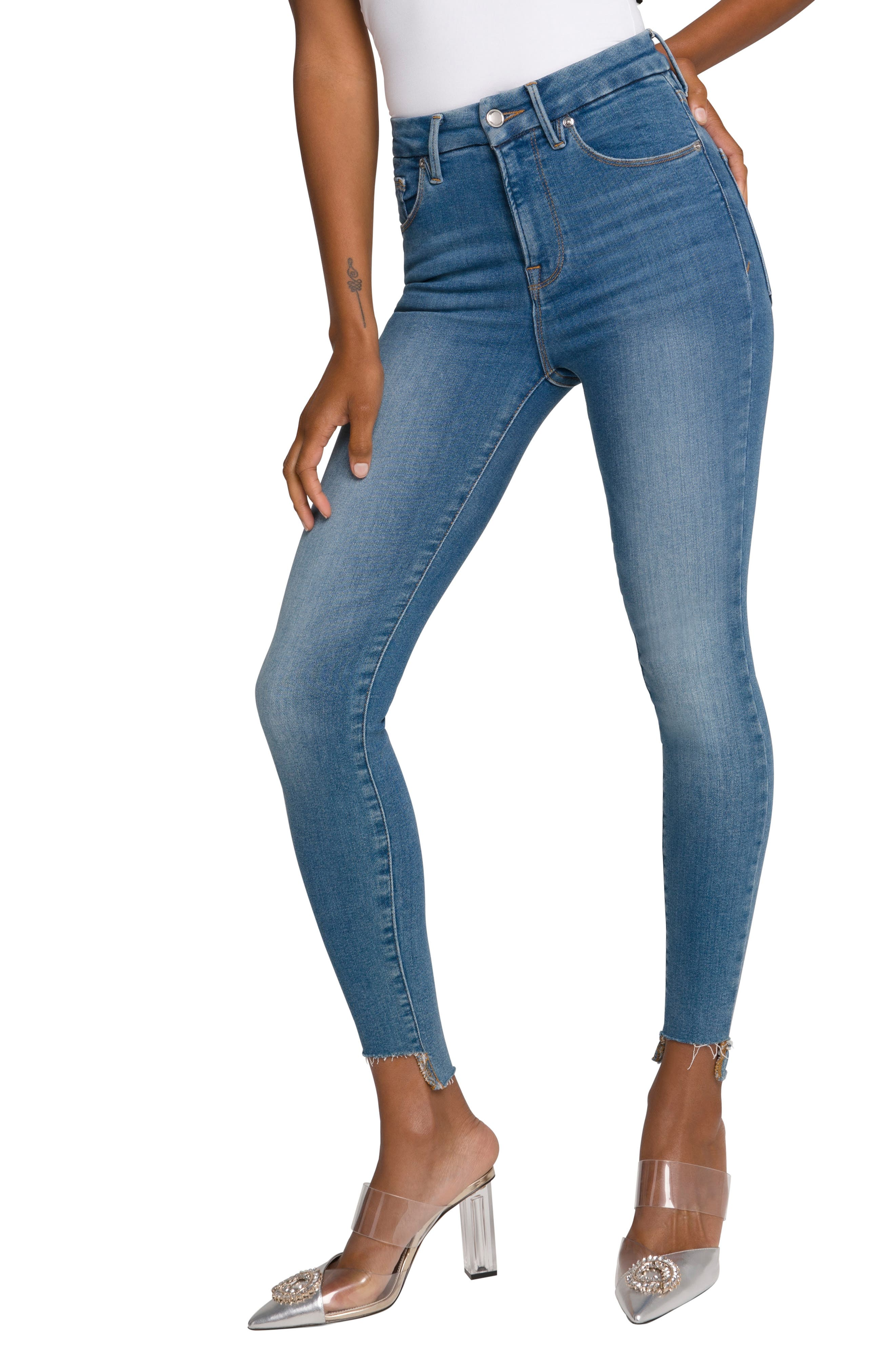 Good American Good Legs High Waist Raw Step Hem Skinny Jeans (Regular & Plus Size) | Nordstrom