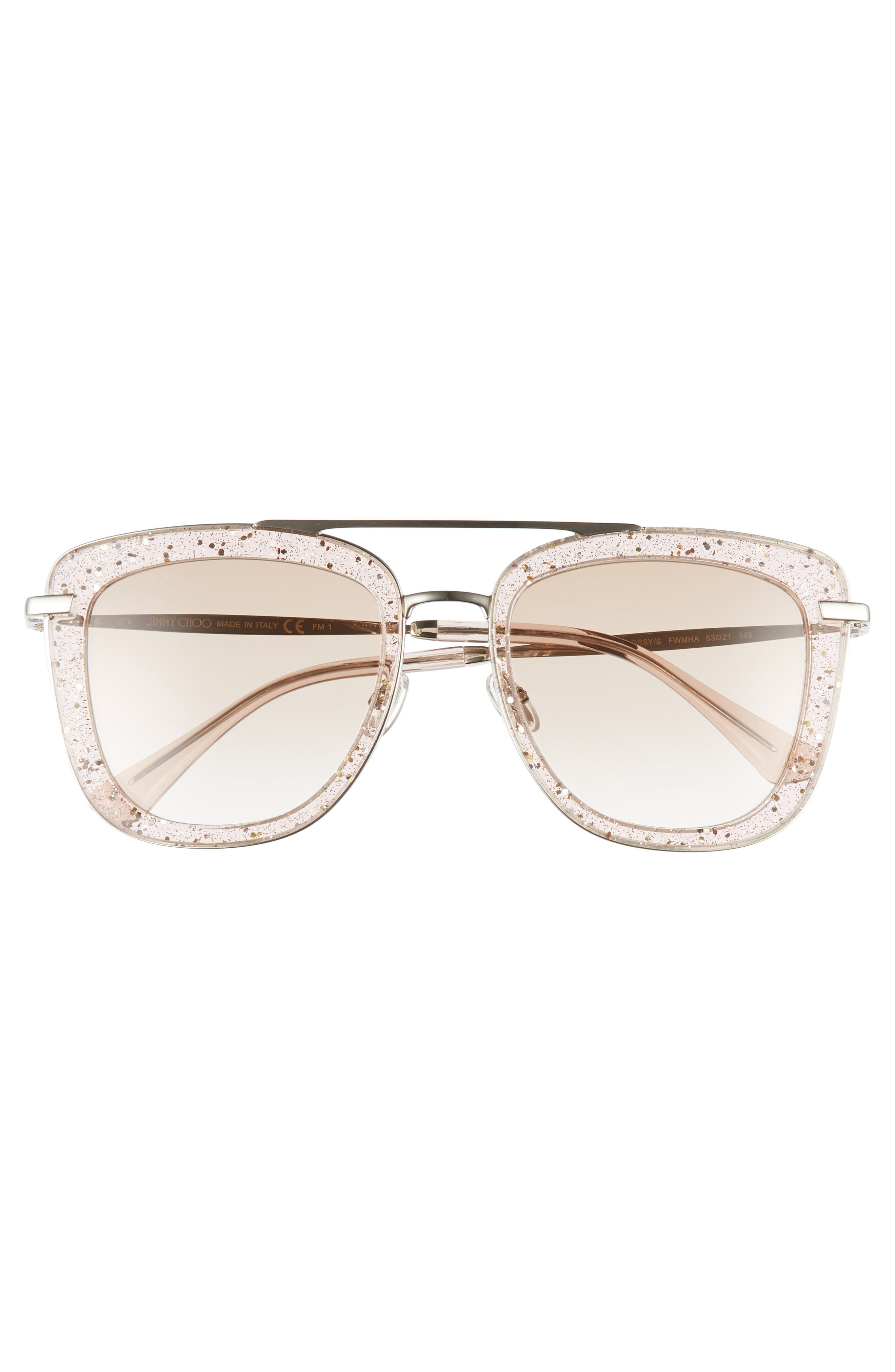 ,                             Glossy 53mm Square Sunglasses,                             Alternate thumbnail 3, color,                             NUDE