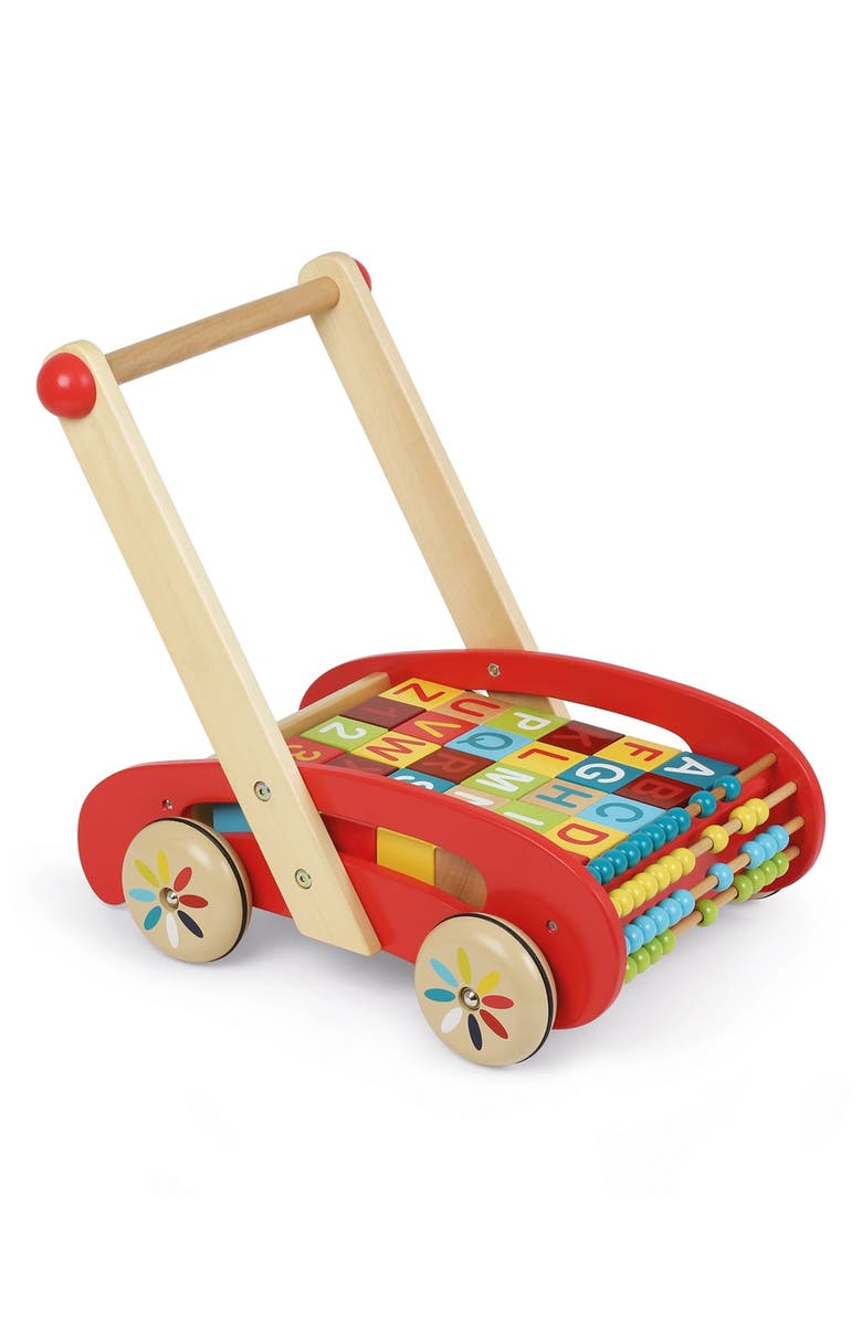 JANOD ABCWooden Block Buggy, Main, color, RED