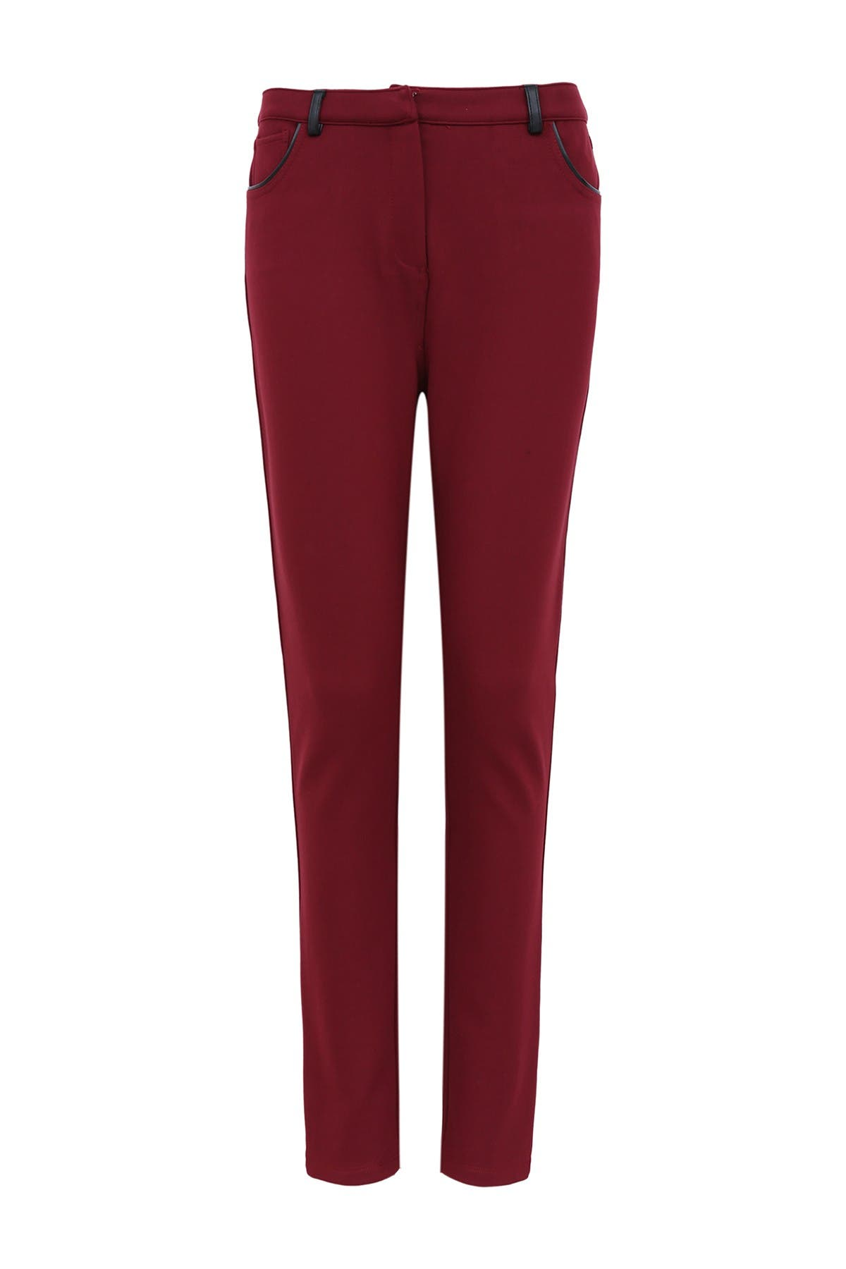Image of FRNCH Faux Leather Trim Structured Skinny Pant