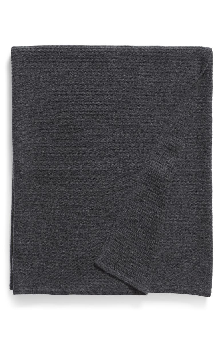 NORDSTROM SIGNATURE Ribbed Cashmere Throw, Main, color, 021