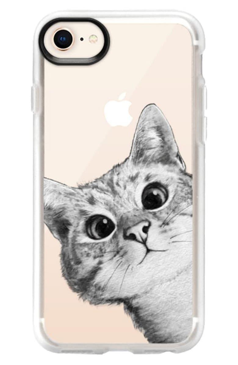 CASETIFY Peekaboo Cat iPhone Case, Main, color, BLACK / WHITE