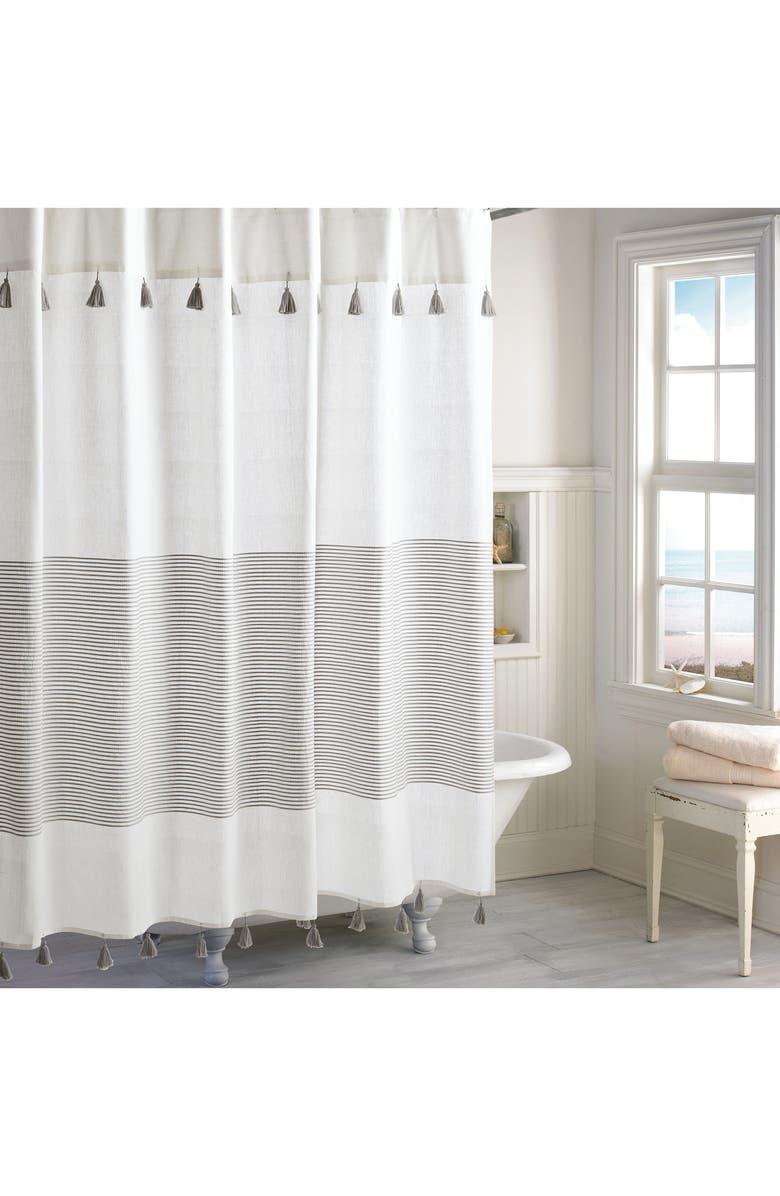 PERI HOME Panama Stripe Shower Curtain, Main, color, GREY
