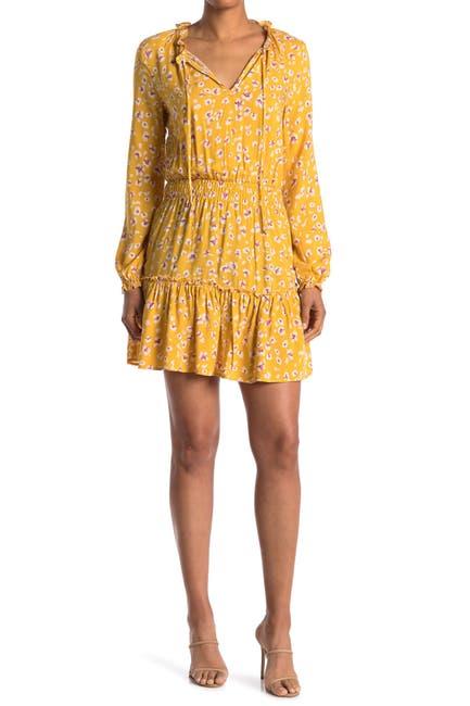 Image of KENEDIK Keyhole Long Sleeve Smocked Dress