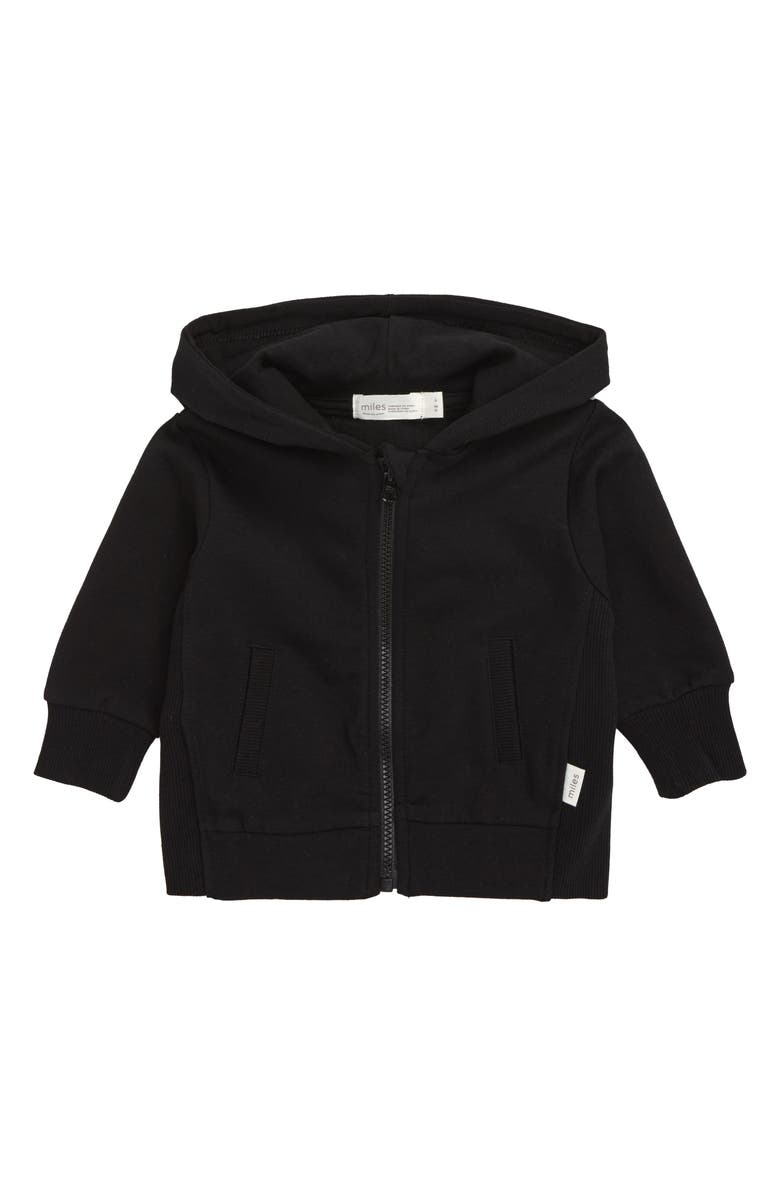MILES BABY Organic Cotton Hoodie, Main, color, BLACK