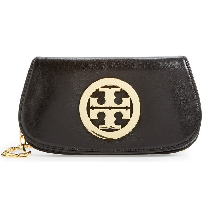 TORY BURCH Logo Flap Clutch, Main, color, 002