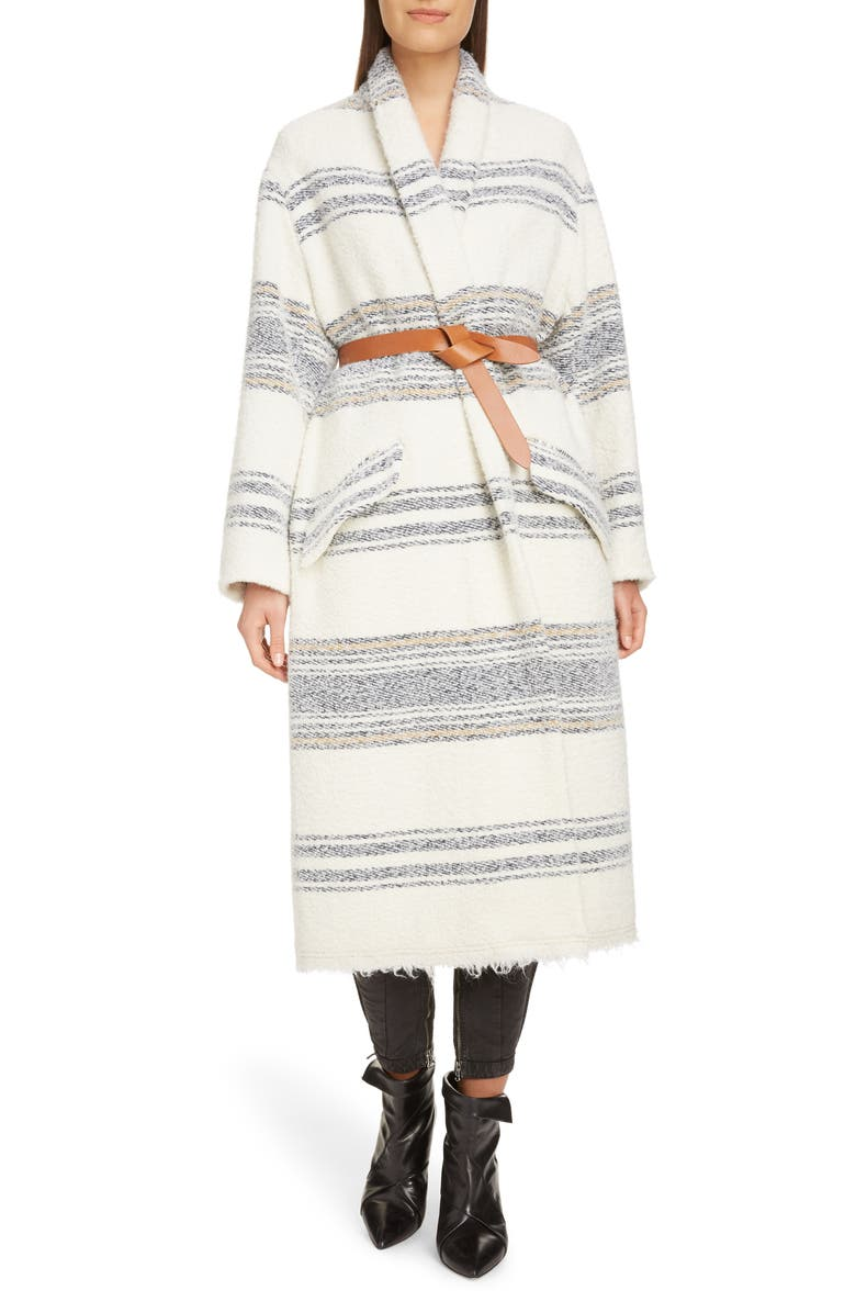 ISABEL MARANT ÉTOILE Faby Stripe Wool Blend Coat, Main, color, ECRU