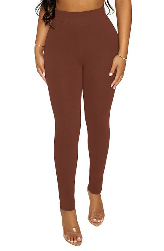 Naked Wardrobe The Nw Snatched To The Side Leggings In Chocolate