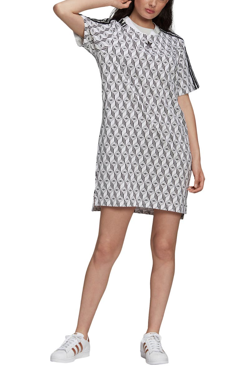 ADIDAS ORIGINALS Trefoil Geo Print T-Shirt Dress, Main, color, WHITE/ BLACK
