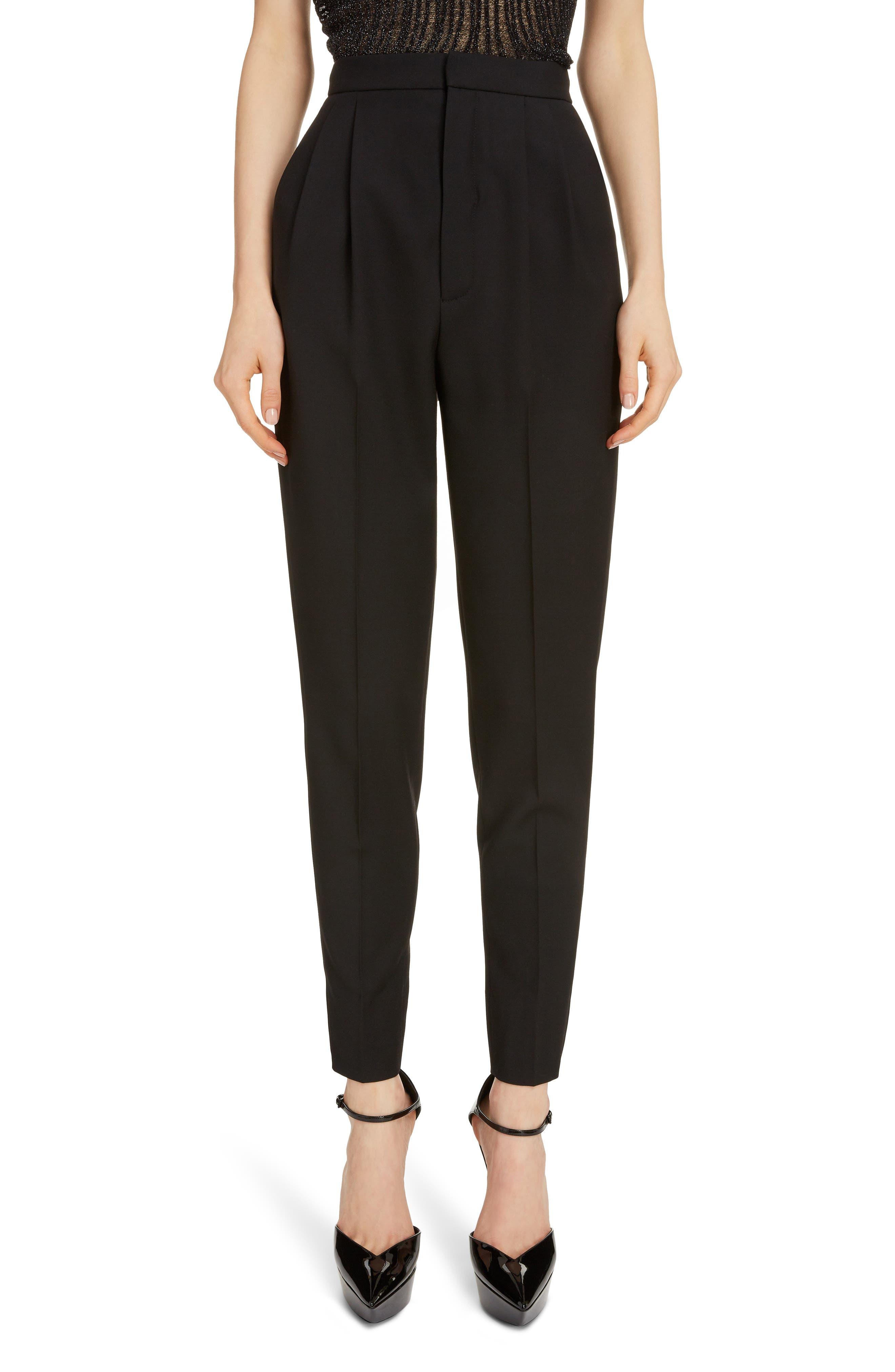 Saint Laurent Pants High Waist Pleated Wool Pants