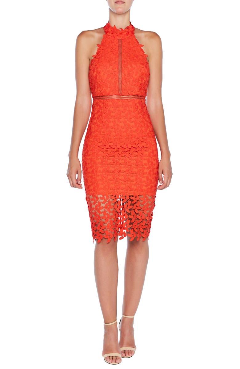 25a9c670 Gemma Halter Lace Sheath Dress, Main, color, POPPY RED