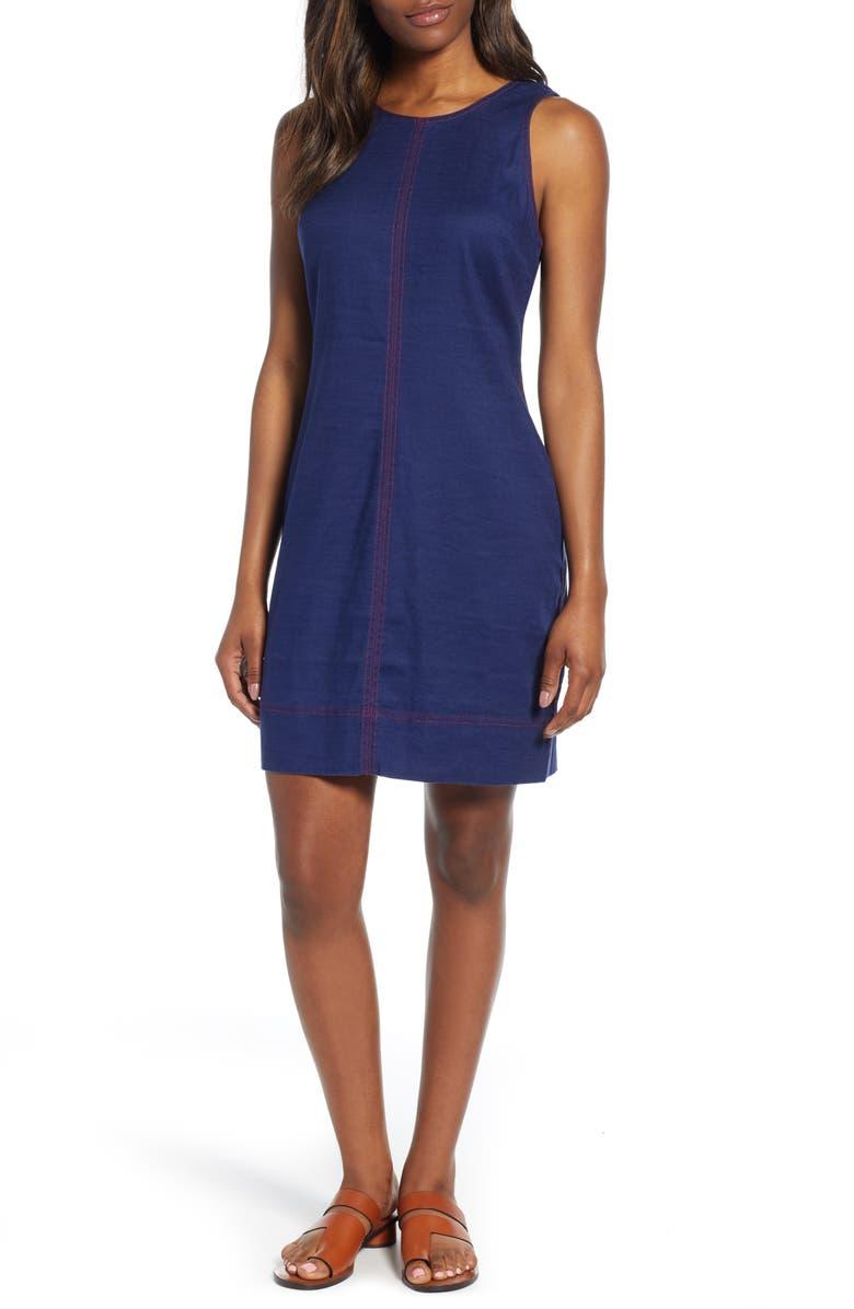 TOMMY BAHAMA Palm-A-Dora Sleeveless Sheath Dress, Main, color, ISLAND NAVY